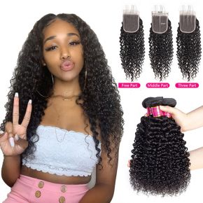 Today Only Hair Mongolian Kinky Curly Virgin Hair 3 Bundles With Lace Closure 100% Human Hair Weave