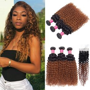 Today Only Hair Ombre 1B/30 Peruvian Virgin Hair Kinky Curly 3 Bundles With Lace Closure 10A Grade Human hair