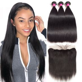 Today Only Hair Unprocessed Brazilian Straight Virgin Hair 3 Bundles With Ear To Ear Lace Frontal