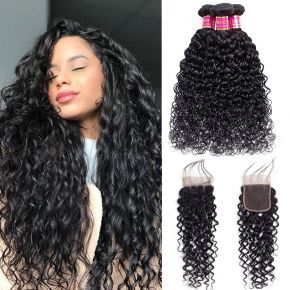 Today Only Hair Malaysian Water Wave Virgin Hair 4 Bundles With Lace Closure