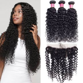 Today Only Hair Peruvian Virgin Hair Lace Frontal Water Wave With Frontal 3 Bundles Wet And Wavy