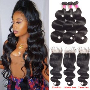 Today Only Hair Unprocessed Peruvian Body Wave Virgin Hair 3 Bundles with Lace Closure