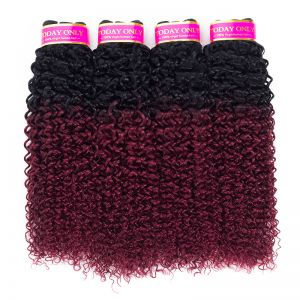 Today Only Hair Ombre Peruvian Kinky Curly Hair 1B/99j Human Virgin Hair Weave 4 Bundles