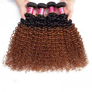 Today Only Hair 1B/30 Brazilian Kinky Curly Virgin Hair 4 Bundles Human Hair Extensions