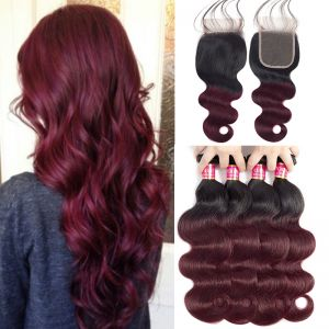 Today Only Hair 1B/99j Ombre Brazilian Body Wave Virgin Hair 4 Bundles With Lace Closure