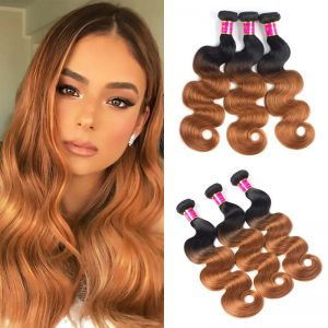 Today Only Hair Ombre Brazilian Hair Body Wave 3 Bundles 1B/30 Ombre Human Hair Weave Bundles