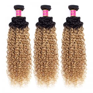 Today Only Hair 2 Tone Ombre Brazilian Kinky Curly Hair 1B/27 100% Human Hair Weave 3 Bundles