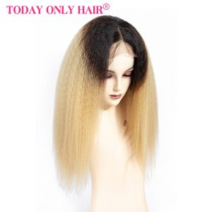 Today Only Hair Ombre 1B/27 Virgin Yaki Straight Lace Frontal Human Hair Wigs For Women Kinky Straight Lace Frontal Wig With Baby Hair