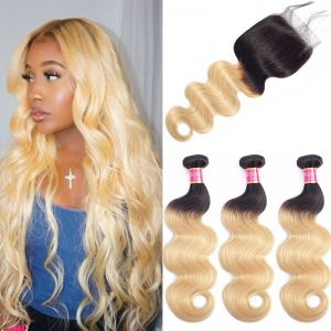 Today Only Hair 1b/27 Ombre Brazilian Body Wave Hair 3 Bundles With Closure Human Virgin Hair Weave Bundles