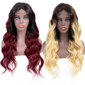 Today Only Hair Short Ombre Body Wave Human Hair Wigs Lace Frontal Body Wave Hair Wigs 13*4 1B/99J &1b/27 Color Wigs