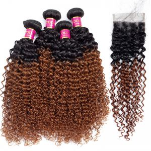 Today Only Hair 1B/30 Ombre  Brazilian Kinky Curly Virgin Hair 4 Bundles With Lace Closure