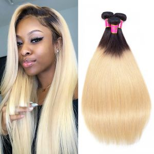 Today  Only Hair 2 Tone Ombre Brazilian Straight Hair 1B/27 100% Human Hair Weave 4 Bundles