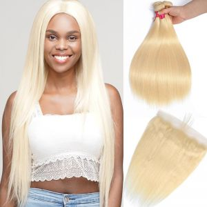 Today Only Hair 613 Blonde Straight 3 Bundles With Human Hair Lace Frontal Closure