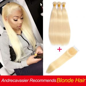 Today Only 613 Blonde Bundles With Closure Straight Human Hair Bundles With Closure Free Part Closure