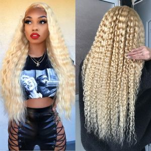"613 Blonde Curly Transparent Lace Frontal Wigs 8""-22"" Brazilian Lace Front Human Hair Wig Pre Plucked Deep Curly Virgin Hair"