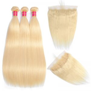 Today Only Hair 613 Blonde Bundles With Frontal Straight With Frontal Virgin Blonde Human Hair Lace Frontal Closure With Bundle