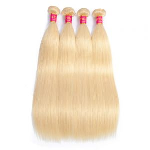 Today Only Hair 4 Bundles 613 Blonde Straight Hair Bundles 8-26 Inches Virgin Straight 100% Human Hair Extensions