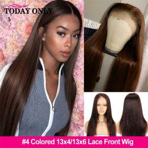 Glueless #4 Brown 13x4 Straight Lace Front Wig Brazilian Lace Frontal Wig Colored Human Hair Wigs For Women PrePlucked Vrgin