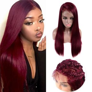 Todayonly hair 13x4 99J Brazlian Remy Straight Lace Closure Human Hair Wigs Mid Ratio