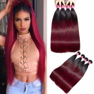 Today Only Hair 1b/99j Peruvian Virgin Hair Straight Hair Extensions 4 Bundle Deals Ombre Hair Weave