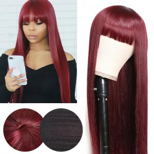 Todayonly Hair 99J Straight Hair Glueless Wigs With Bangs Machine Made Virgin Human Hair 14-26 inch