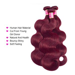Today Only Hair Burgundy Brazilian Body Wave 3 Bundles Virgin Hair 99j Brazilian Hair Weave Bundles