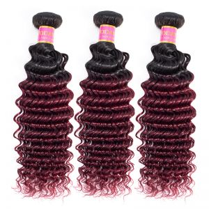 Today Only Hair Ombre Brazilian Virgin Hair Deep Wave 1B/99j Brazilian Human Deep Wave Hair Weave 3 Bundles