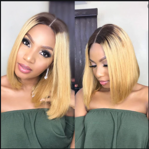 Today Only Hair Ombre Virgin Hair Peruvian 1B 27&1B 99J Bob Wigs Straight 13x4 Lace Frontal