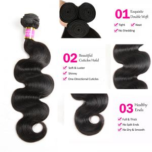 Today Only Hair Peruvian Body Wave 5Bundles Human Hair Weave 1B color