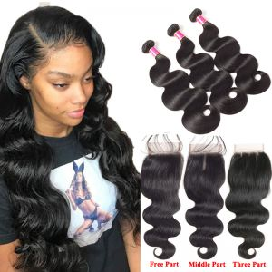 Today Only Hair Brazilian Virgin Hair Body Wave With Lace Closure 4 pcs Human Hair Bundles With Closure
