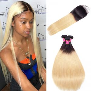 Today Only Hair 1B/27 Ombre Brazilian Straight Virgin Hair 4 Bundles With Lace Closure