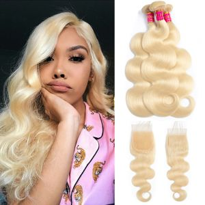 Today Only Hair 613 Blonde Body Wave Hair 3 Bundles With Closure Blonde Human Virgin Hair Weave Bundles