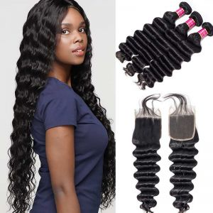 Today Only Hair Grade 10A Peruvian Loose Deep Weave 3 Bundles With Lace Closure