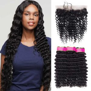 Today Only Hair Peruvian Virgin Deep Wave Hair 3 Bundles With Ear To Ear Lace Frontal