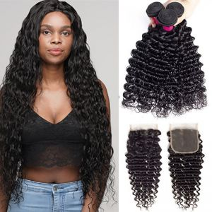 Today Only Hair Grade 10A Peruvian Deep Wave 3 Bundles With Lace Closure Unprocessed Virgin Hair