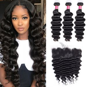Today Only Hair Unprocessed Loose Deep With Lace Frontal Virgin Hair 3 Bundles Deep Wave With Lace Frontal