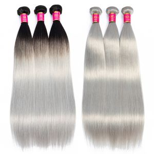 TODAY ONLY Hair Ombre 3 Bundles Silver Grey Straight Human Hair Bundles Ombre Bundles 1B/Grey Virgin Hair Extensions