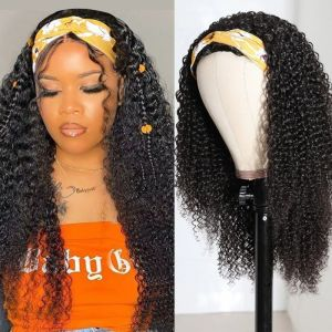 Todayonly Hair Glueless Headband Kinky Curly Wig Human Hair Half Wig Multicolor Random