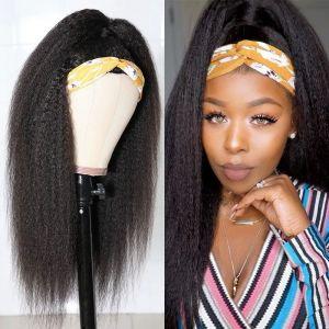 Todayonly Hair Headband Kinky Straight Virgin Hair Glueless Half Wig Headband Multicolor Random