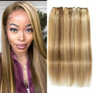 Straight Hair Bundles Brown Peruvian Human Hair 3 Bundles Honey Blonde Highlight Hair Color Extensions 8-26 Remy