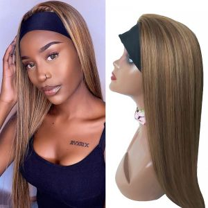 Todayonly Hair Headband HLD Color Honey Blonde Highlight Straight 180% Density Virgin Hair Glueless Half Wig Headband Multicolor Random