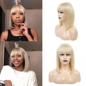 613 Blonde Wigs Bob Virgin Hair Straight Short 13x4 Lace Frontal Wigs Human Hair Wigs With Bangs