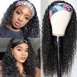 Todayonly Hair Headband Curly Glueless Human Hair Half Wig Multicolor