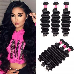Today Only Hair Products Brazilian Loose Deep Virgin Hair 4 Bundles 8-26 Inches Natural Color 100% Unprocessed Human Hair Weaving