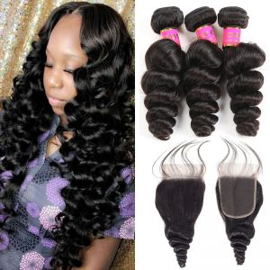 Today Only Hair Raw Indian Loose Wave 4 Bundles With Lace Closure Indian Virgin Hair Loose Weave With Closure