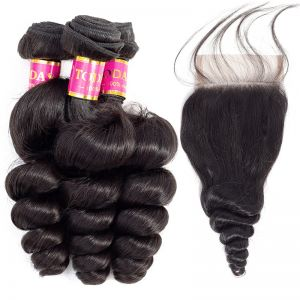 Today Only Hair Malaysian Virgin Hair Loose Wave 3 Bundles With Lace Closure Malaysian Loose Curly Weave With Closure