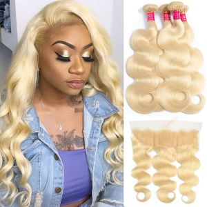 Today Only Hair 613 Blonde 3 Bundles Body Wave With Frontal Virgin Human Hair Lace Frontal Closure With 3 Bundles