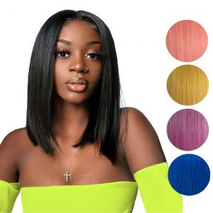 Today Only Hair Brazilian Human Hair Straight Lace Frontal Bob Short Wigs Natural Color/Purple/Pink/Yellow/Blue with Pre Plucked Hairline