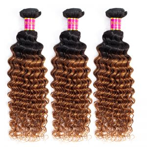 Today Only Hair Ombre Raw Indian Virgin Hair Deep Wave 1B/30 100% Indian Human Deep Wave Hair Weave 3 Bundles