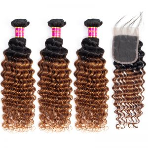 Today Only Hair Ombre 1B/30 Brazilian Virgin Hair Deep Wave 3 Bundles With Lace Closure